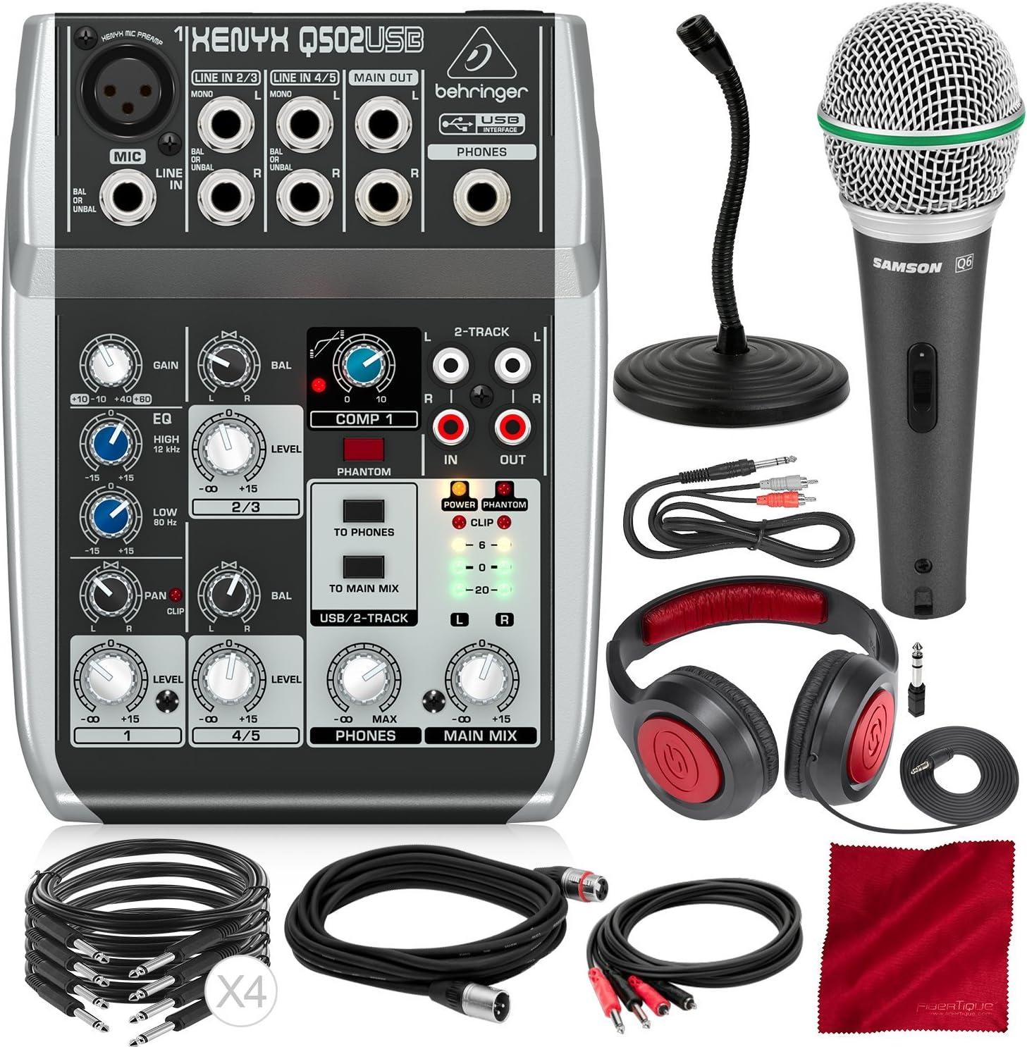 Closed-Back Headphones Behringer Xenyx Q502USB Premium 5-Input 2-Bus Mixer with Dynamic Microphone and Platinum Bundle