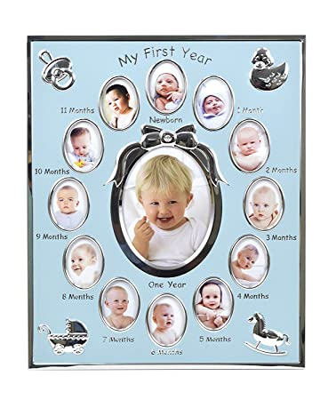 Amazoncom Concepts My First Year Baby Blue Picture Frame With Bow