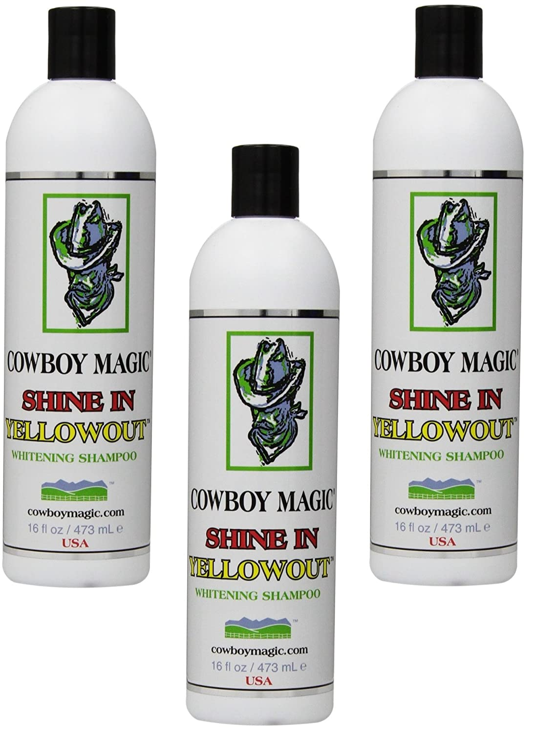 Cowboy Magic 3 Pack of Shine in Yellowout, 16 Ounces Each, Whitening Shampoo for Horses and Humans