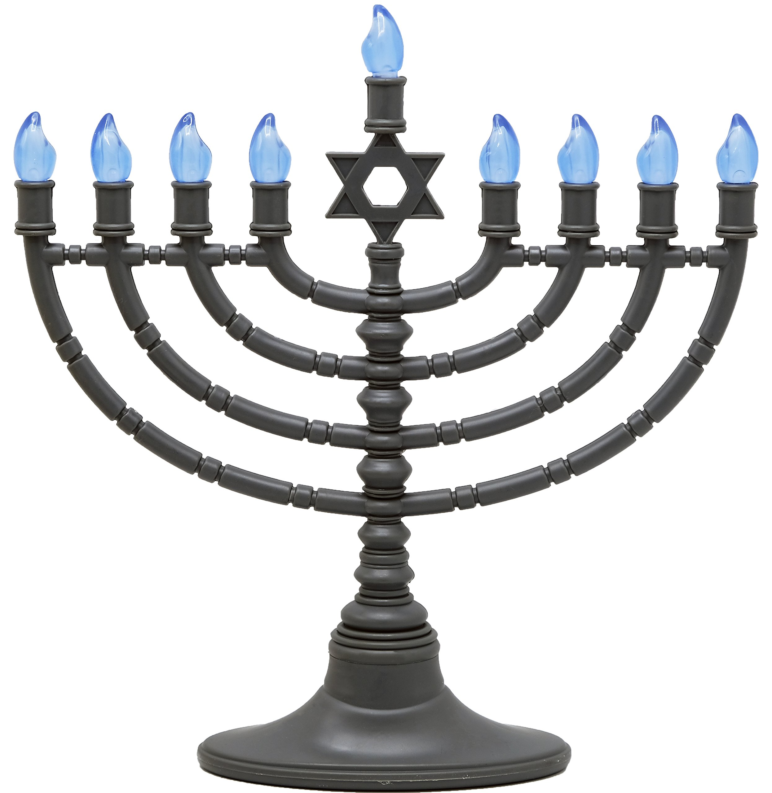 Electric Menorah Traditional Star Of David Design Classy Gray With Clear Bulbs ... by The Menorah Company
