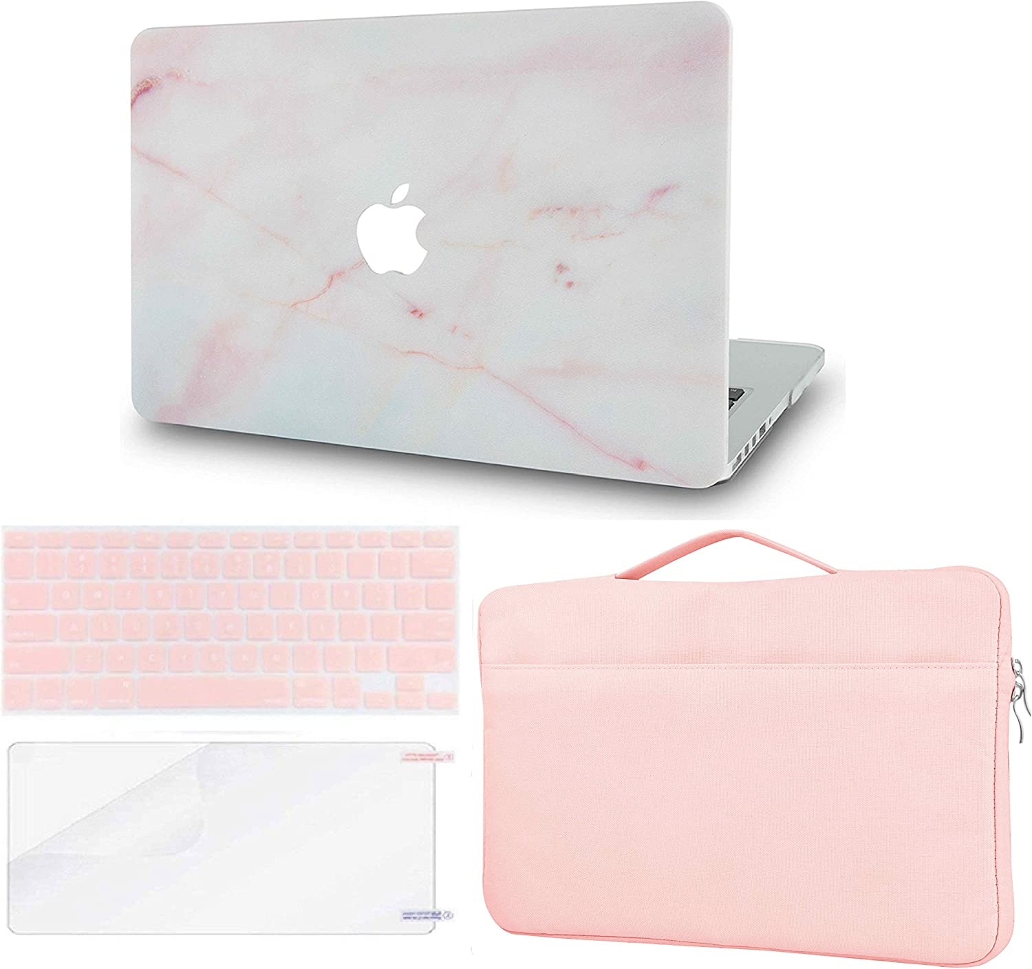 LuvCase 4 in 1 Laptop Case Compatible with MacBook Air 13 Inch (2018-2020) A1932 (Touch ID) Retina Display HardShellCover, Sleeve Bag, Keyboard Cover & Screen Protector (Pink Marble)