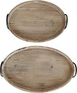 Creative Co-op Round Decorative Wood Trays with Metal Handles (Set of 2 Sizes)