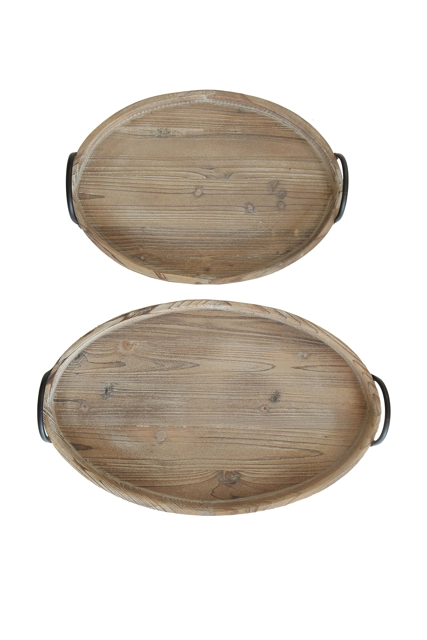 Creative Co-op Round Decorative Wood Trays with Metal Handles (Set of 2 Sizes) by Creative Co-op
