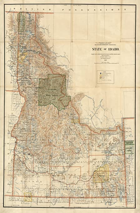 Amazon Com Map Poster Map Of State Of Idaho 24 X16 Posters