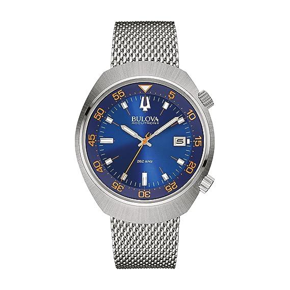 Bulova Accutron II – Chaqueta UHF Reloj de Mujer con Esfera analógica Azul Pantalla y Plata