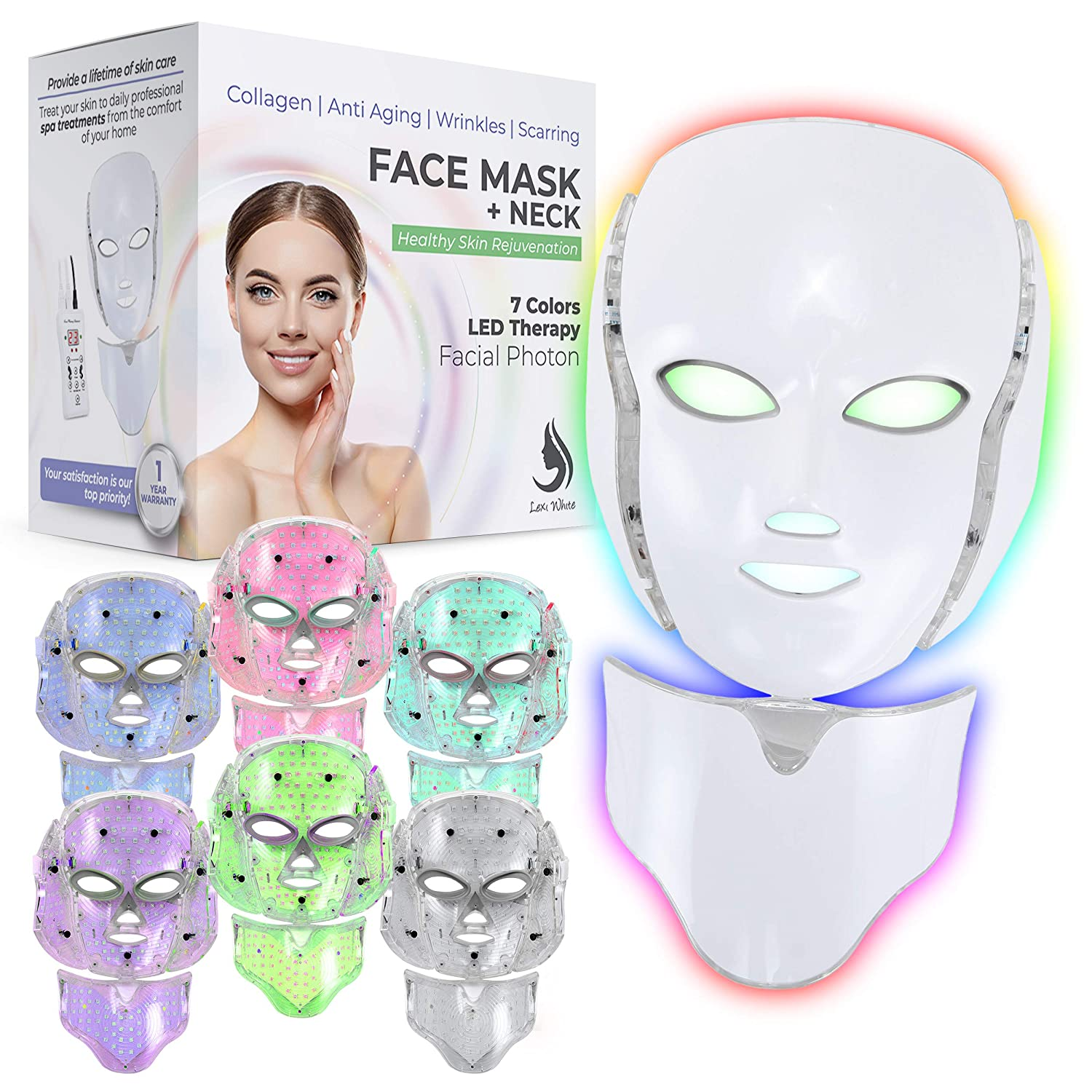 Red Light Therapy LED Face Mask Neck 7 Color   LED Mask Therapy Facial Photon For Healthy Skin Rejuvenation   Collagen, Anti Aging, Wrinkles, Scarring   Korean Skin Care, Facial Skin Care Mask (White)