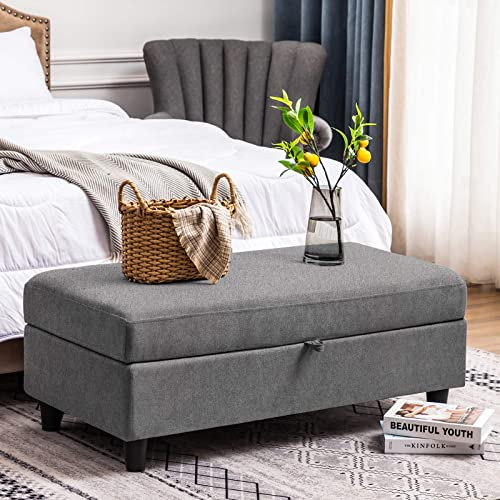 HONBAY 45 inch Rectangle Storage Ottoman Bench