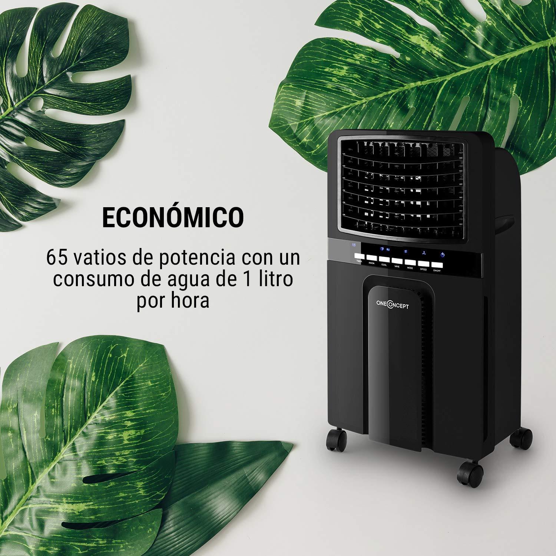Oneconcept Baltic White Edition /• Climatizador /• Purificador /• Enfriador /• Humidificador /• 65W de Potencia /• 3 Intensidades /• Temporizador /• Consumo ecol/ógico /• Ruedas /• Blanco