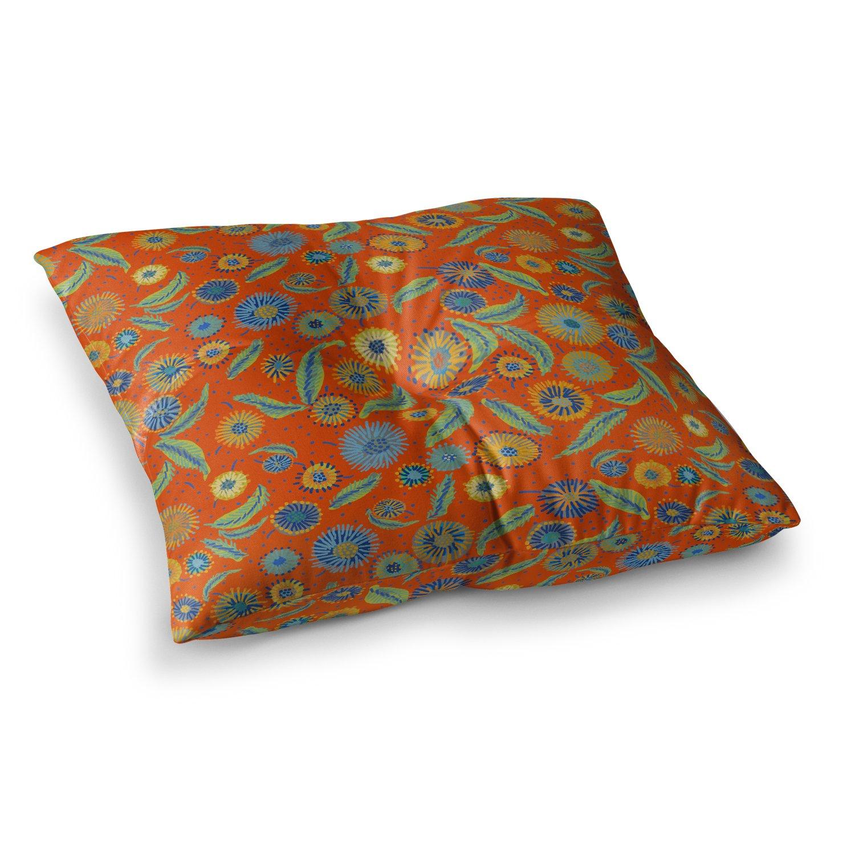 26 x 26 Square Floor Pillow Kess InHouse Laura Nicholson Asters On Scarlet Orange Floral