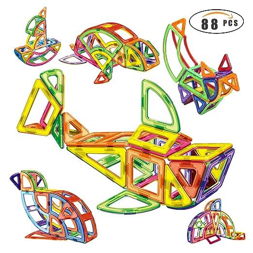 Shinehalo LT2001 88 pcs Magnetic Building Blocks, Magnetic Tiles, 3D Magnet Building Toys Set, Educational Construction Magnetic for Kids