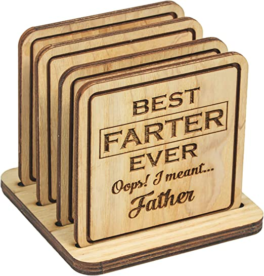 Amazon Com Navady Wood Funny Coasters For Drinks With Holder Set Of 4 3 9 X 3 9 Inches Funny Dad Gifts From Daughter Son Father S Day Gifts Dad Birthday Gifts Funny Dad Christmas