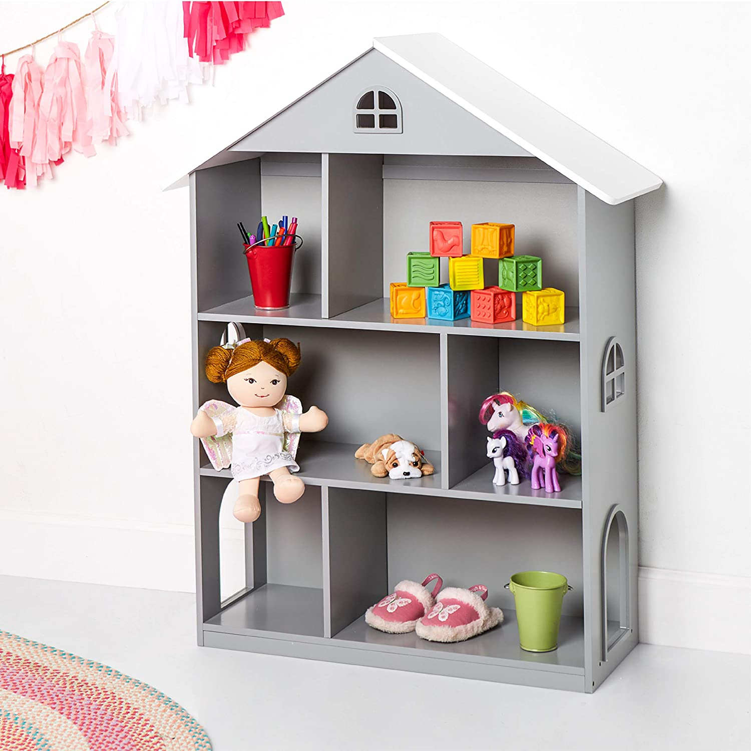 Wildkin Kids Wooden Dollhouse Bookcase for Girls, Measures 42 x 12 x 33 Inches, Dollhouse Bookshelf Keep Toys, Games, Books, and Art Supplies Organized, Ideal for Bedroom or Playroom, BPA-Free (Grey)