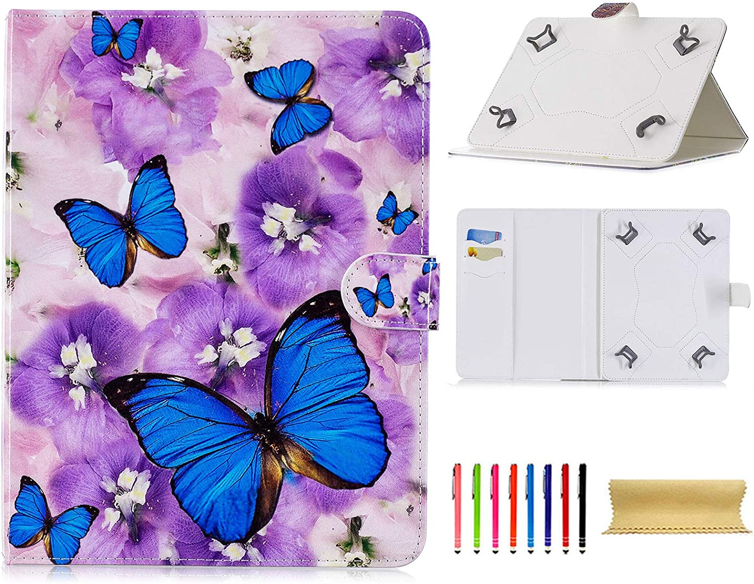 """Universal Case for 7.5-8.5 Inch Tablet, Techcircle Slim PU Leather Folio Flip Stand Wallet Case for iPad Mini 1/2/3/4, Fire HD 8, Galaxy Tab 8.0 Series & Other 7.5""""-8.5"""" Tablet, Blue Butterfly"""