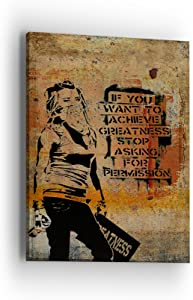 Banksy Greatness Wall Art - Banksy Series - Professional Quality Print Gallery Wrap Modern Home Decor - Ready to Hang - Made in USA
