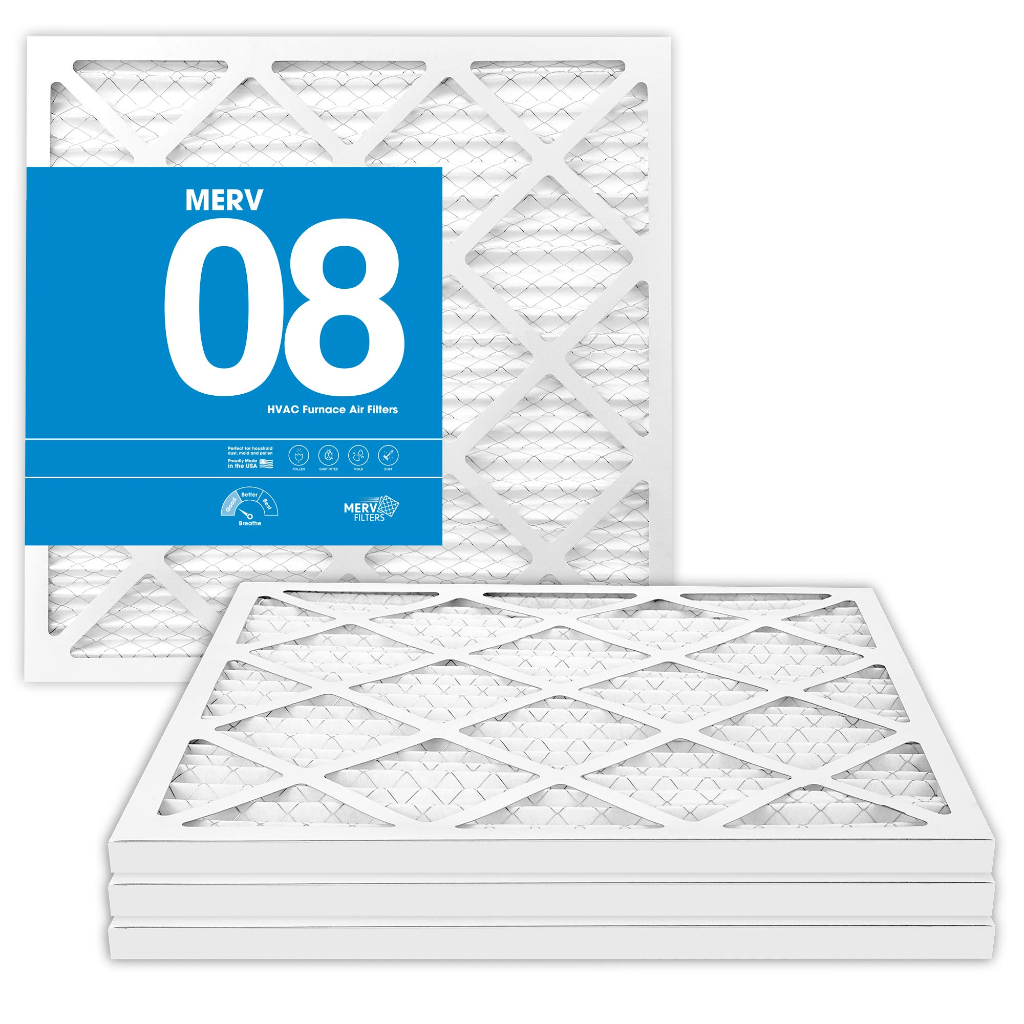 20x20x1 MERV 8 Pleated Air Filters - Premium Furnace, Air Conditioner and HVAC Filter - 20 x 20 x 1 (4-Pack) - MervFilters