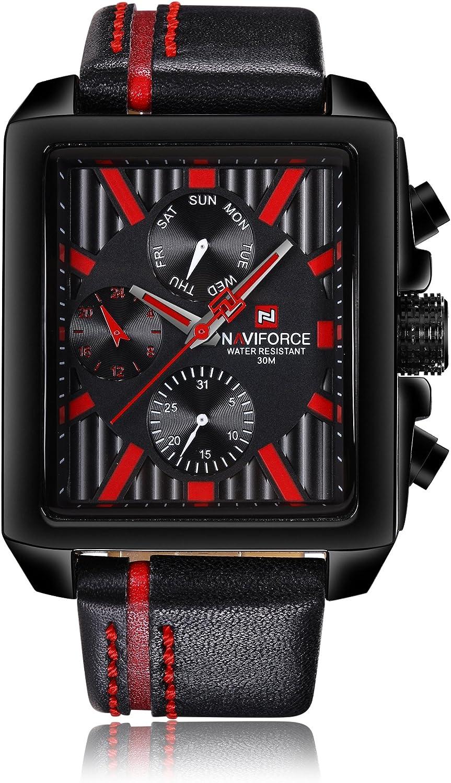 Naviforce Reloj analógico Cuarzo Negocio de la Watch-Men Classic Estilo Vintage Cuarzo Reloj de Pulsera, Correa de Piel, Calendario, 24Horas Pantalla (Rojo)