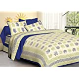 Jaipuri haat Traditional Print Cotton Double Bedsheet with 2 Pillow Covers- King Size