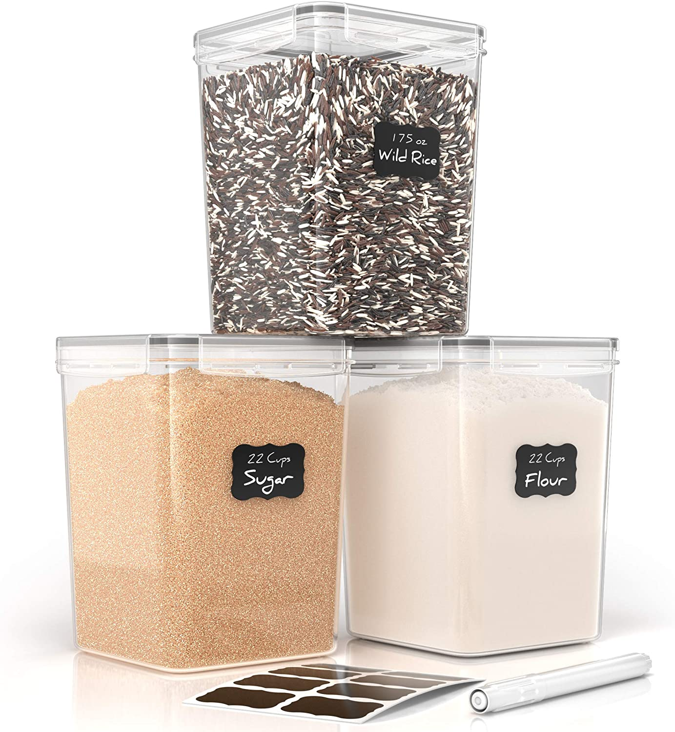 Airtight Food Storage Containers for Flour and Sugar by Simple Gourmet. 3-Piece Kitchen Storage Containers BPA Free + Labels & Marker. Cereal and Flour Containers Storage Set for Pantry Organization
