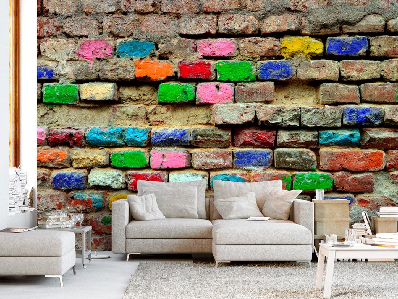 Fototapete Steinwand 400x280 cm Moderne Wanddeko Design Tapete Wand Dekoration murando Vlies Tapete Wandtapete Steine Stein Ziegel bunt f-B-0131-a-a