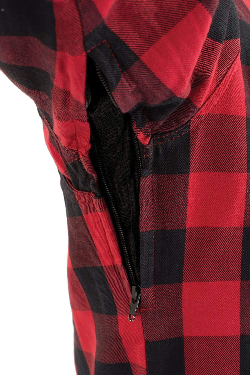 Milwaukee Performance-Mens Armored Checkered Flannel Biker Shirt w//Aramid by DuPont Fibers-BLK//RED1631-2X