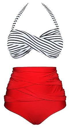 38712f8a33005 Angerella Women Vintage Polka Dot High Waisted Bathing Suit Bikini - -:  Amazon.co.uk: Clothing