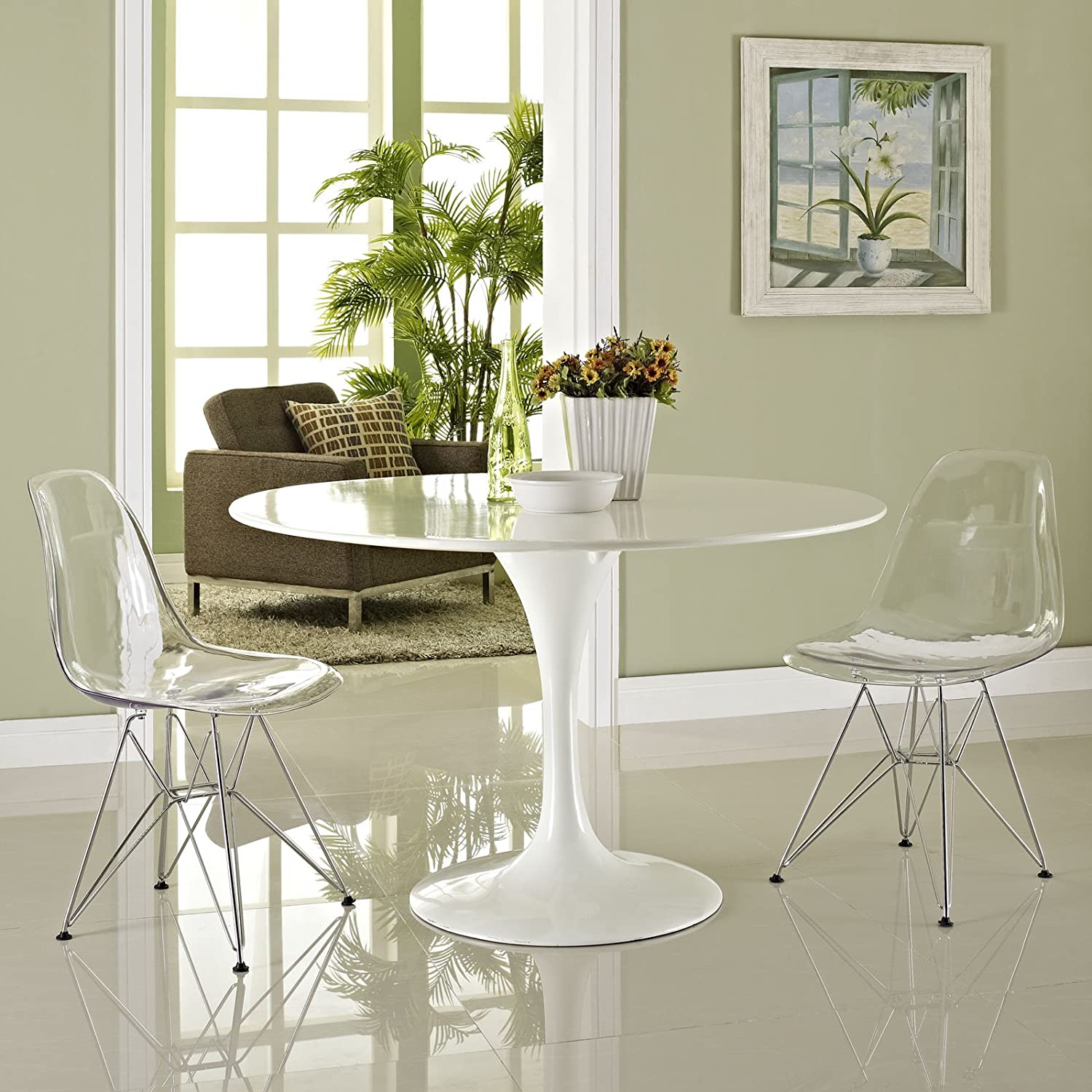 Amazon.com - Modway Paris Dining Side Chair, Clear, Set of 2 - Chairs