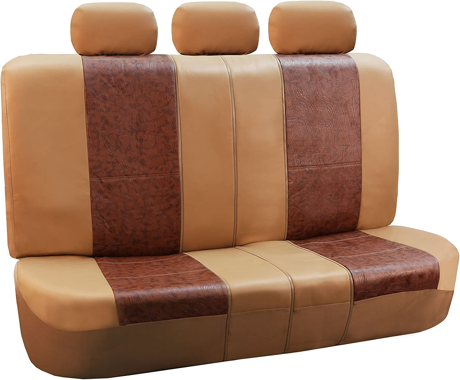 Airbag Compatible and Split Bench FH Group PU160BROWNGRAY115 Brown//Gray PU Textured High Back Leather Seat Cover