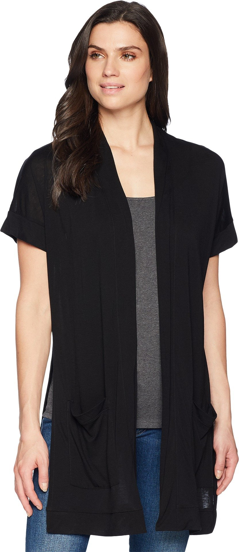 Three Dots Women's Tencel Long Loose Kimono, Black, Extra Small