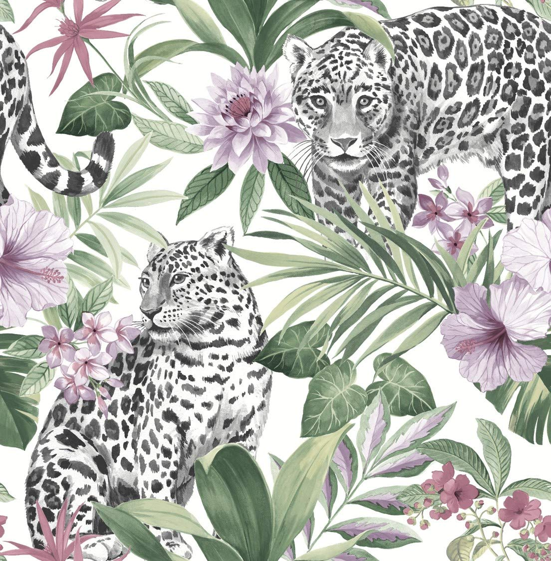 Fine Décor FD42470 UK Tropica Leopard Pastel Wallpaper, Multi-Colour