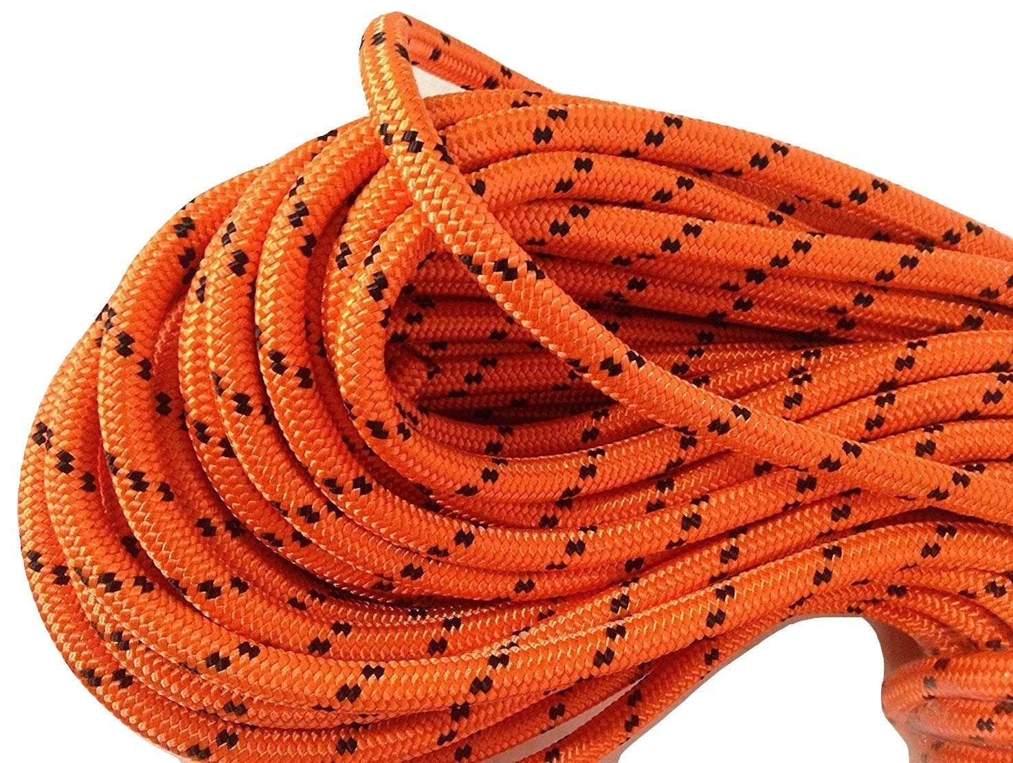 1/2'' X 150' Double Braided Polyester Arborist Rigging Rope, Orange and Black by Blue Ox Rope