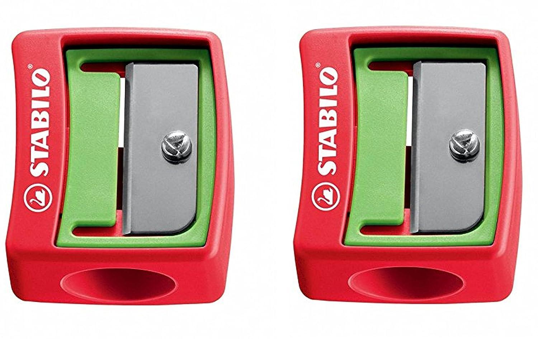 STABILO Kunststoffspitzer für extradicke Stifte (hellgrün/rot (2er Pack))