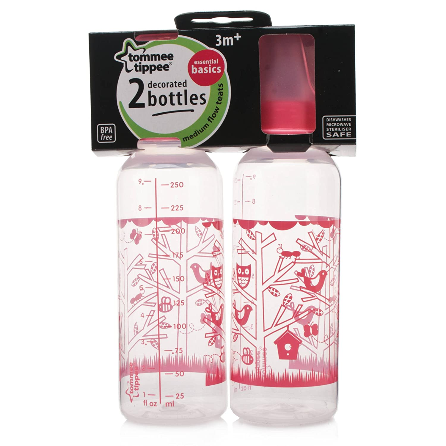 Medium Flow Teats Pink or Blue you choose the color Tommee Tippee Essential Basics 2-pack Decorated Bottles 3m+ 43172030 Pink