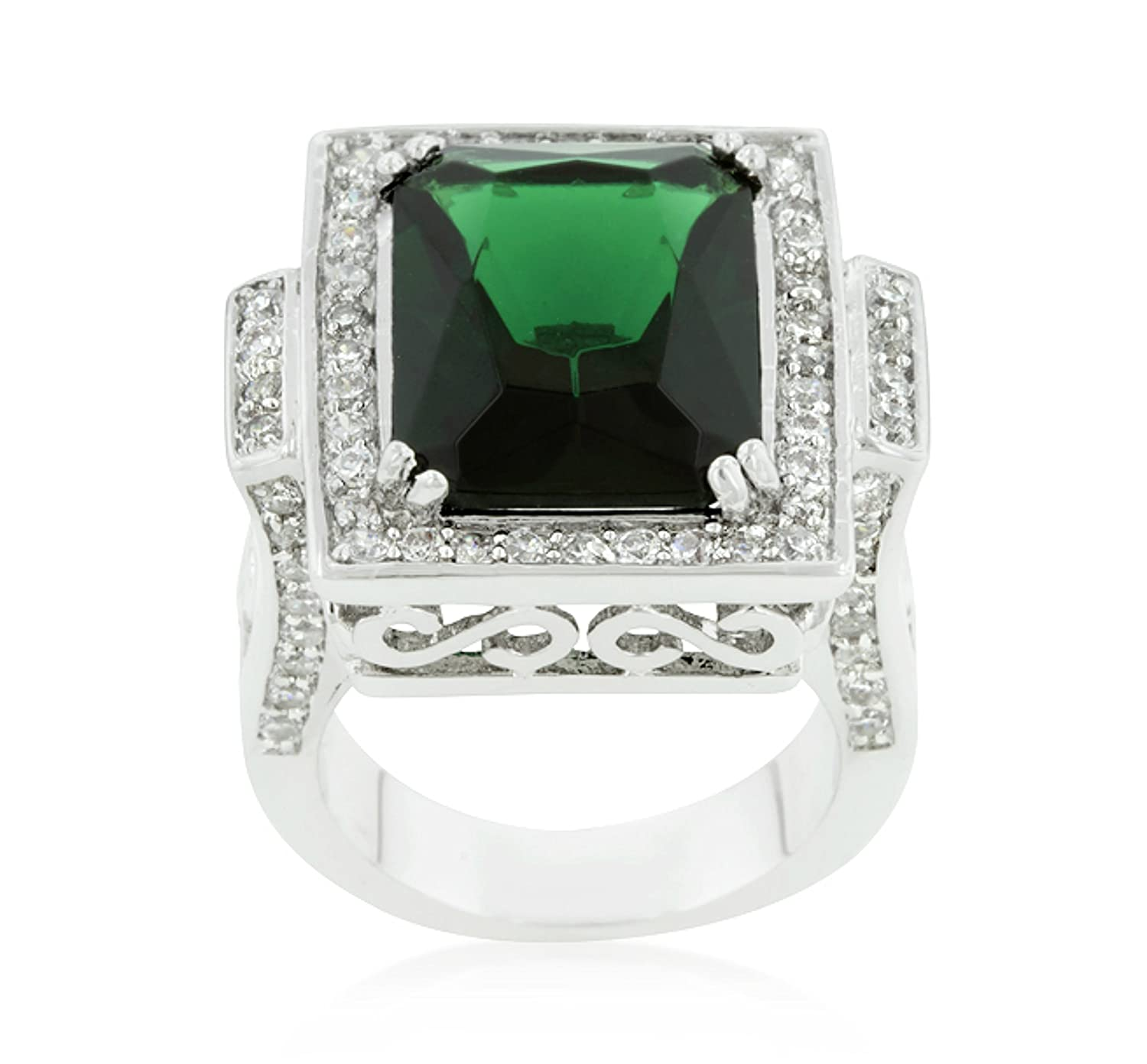 Beloved Sparkles Louie Vintage Emerald Green Classic 8ct Cocktail Ring