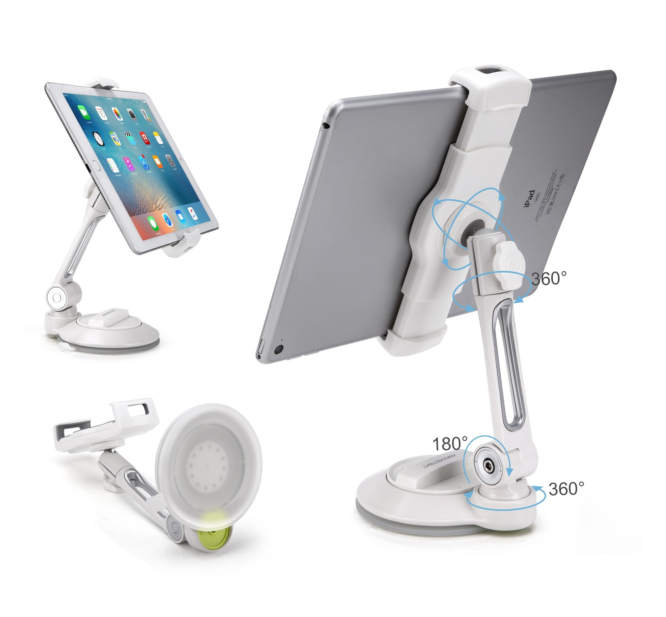 Grip Tight iPad Suction Cup Holder Fits 4-11'' Display, Large Swivel Sticky Tablet Phone Stand Pad to Mount Smartphone, iPhone 5 6 7 iPad Mini, Cell on Smooth Surface Desk Countertop Mirror Car Window by AboveTEK