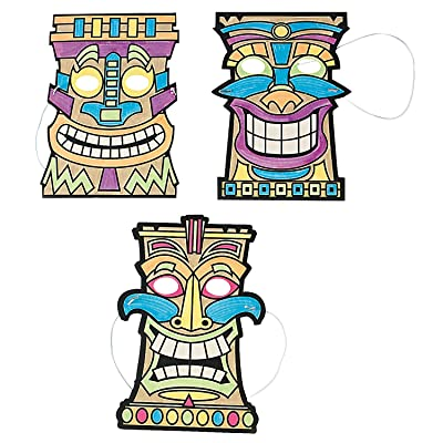 Color Your Own Tiki Mask - Crafts for Kids and Fun Home Activities: Toys & Games