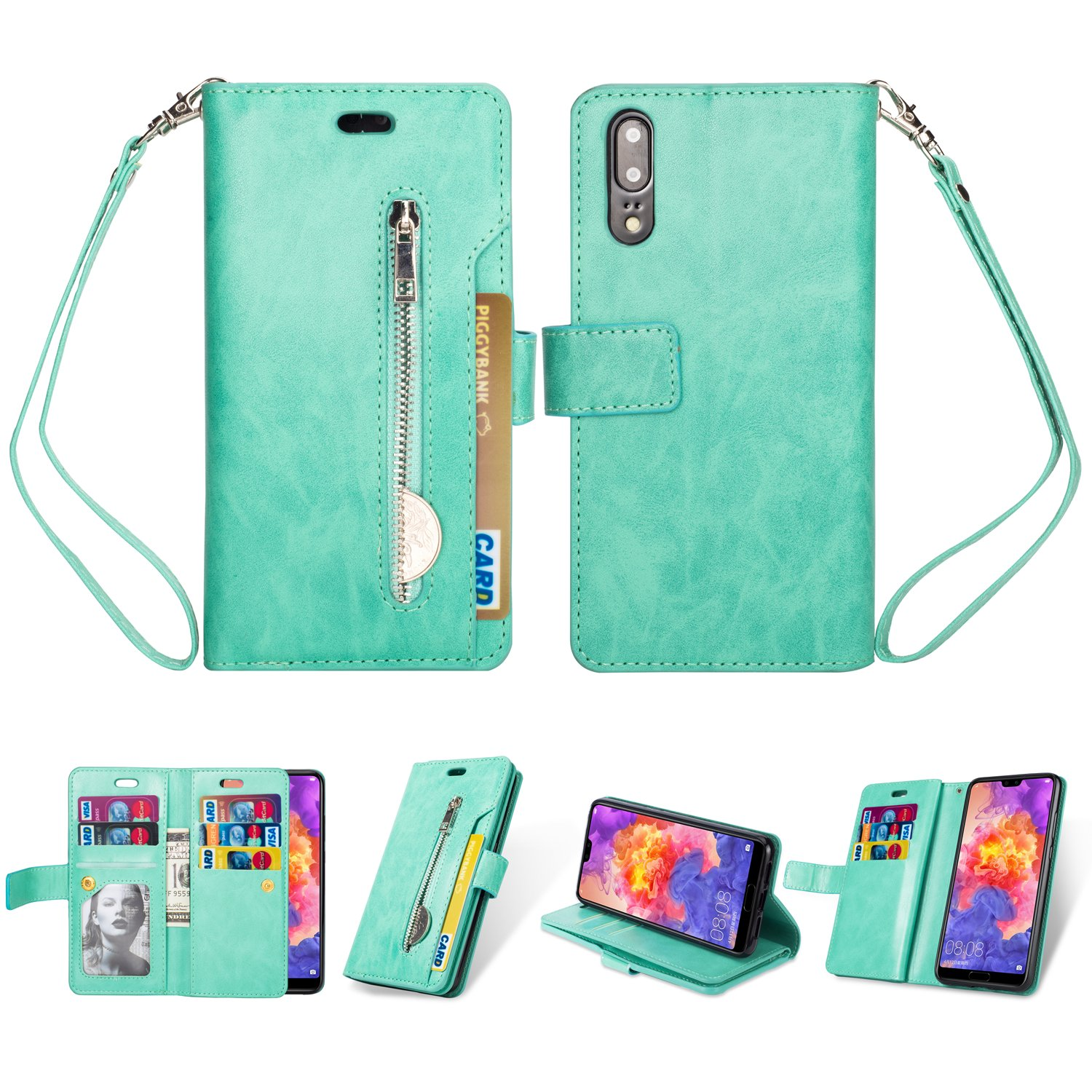 Gostyle Huawei P20 Lite Flip Wallet Case Blue with 9 Credit Card Holders Slots, Premium Leather Magnetic Stand Cover with Zipper Pocket and Hand Strap for Huawei P20 Lite