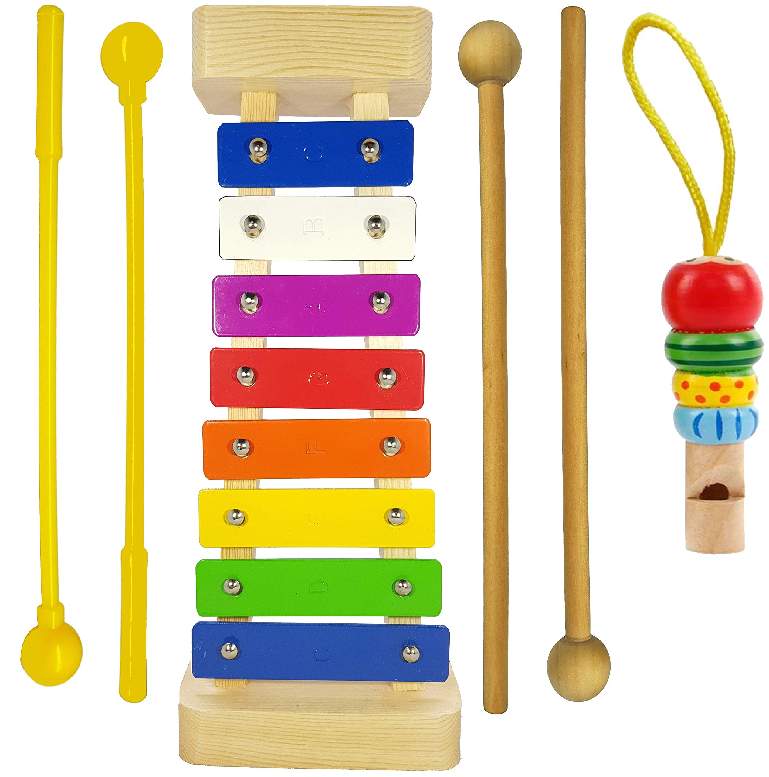 Xylophone for Kids: Glockenspiel Toy Best Birthday/Holiday Gift Idea - With(Four) Child-Safe Mallets 2 Wood 2 Plastic, 3 Music Card & Whistle Included