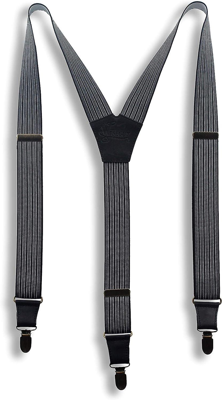 elastisch Wiseguy M//L Gentleman Herren Hosentr/äger mit soliden starken Clips und hochwertigen Lederteilen Y-R/ücken 3,5 cm breit