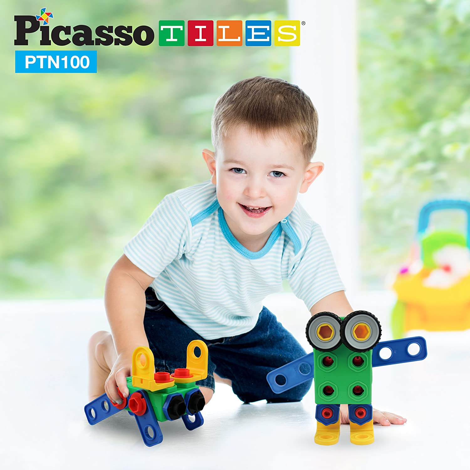 Amazon PicassoTiles PTN100 100pc Nuts and Bolts Building