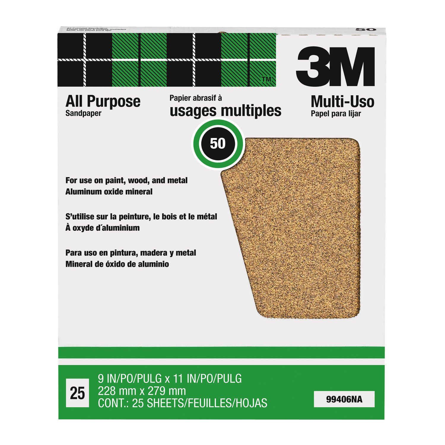 3M Pro-Pak 99406NA Aluminum Oxide Sheets for Paint and Rust Removal, 9-Inch by 11-Inch, 50-Grit
