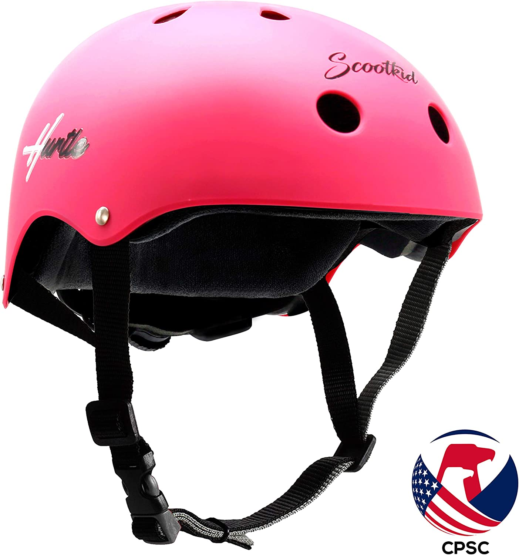 Hurtle Sports Safety Bicycle Kids Helmet - Toddler & Child Bike Helmet w/Adjust Knob, Chin Strap, Ventilation -Toddlers/Childrens Helmet for Cycling/Skateboarding/Kick Board/Scooter