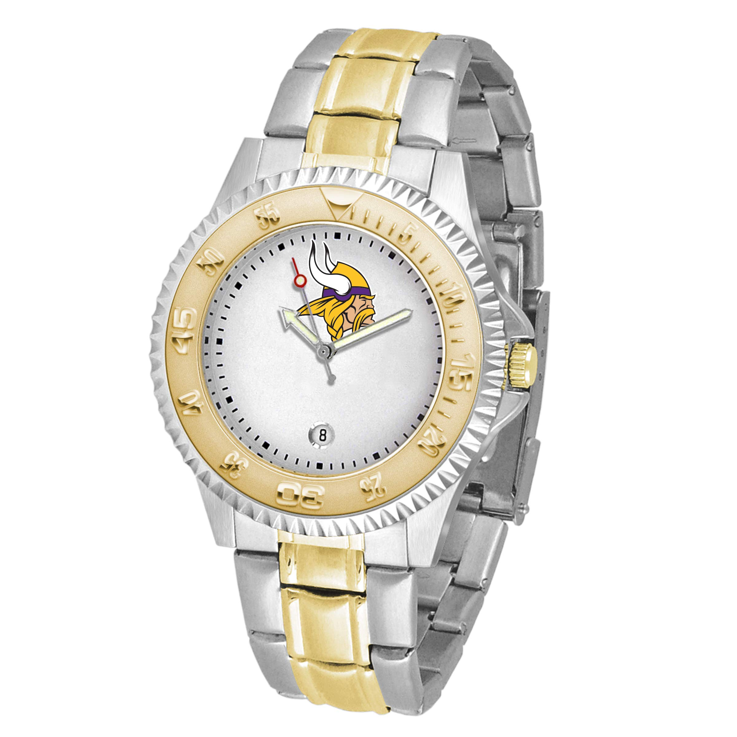 Game Time NFL Minnesota Vikings Mens Two-Tone CompetitorWrist Watch, White, One Size