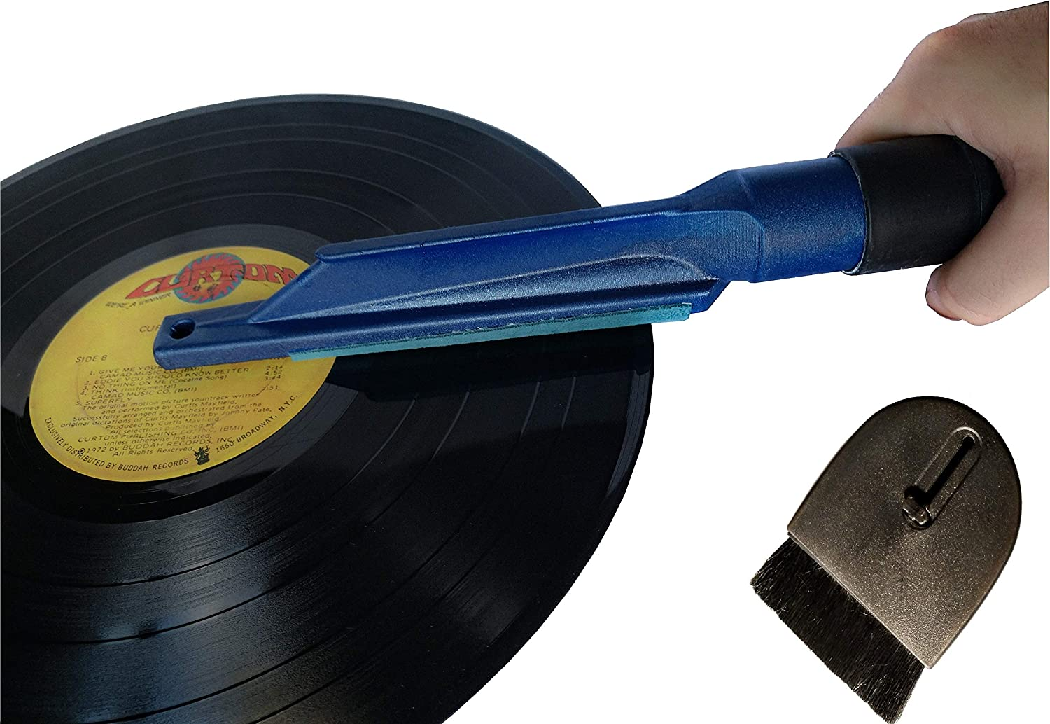 Record Brush for Vinyl Cleaning with Vacuum Attachment and Vinyl Record Dust Remover Anti Static Brush