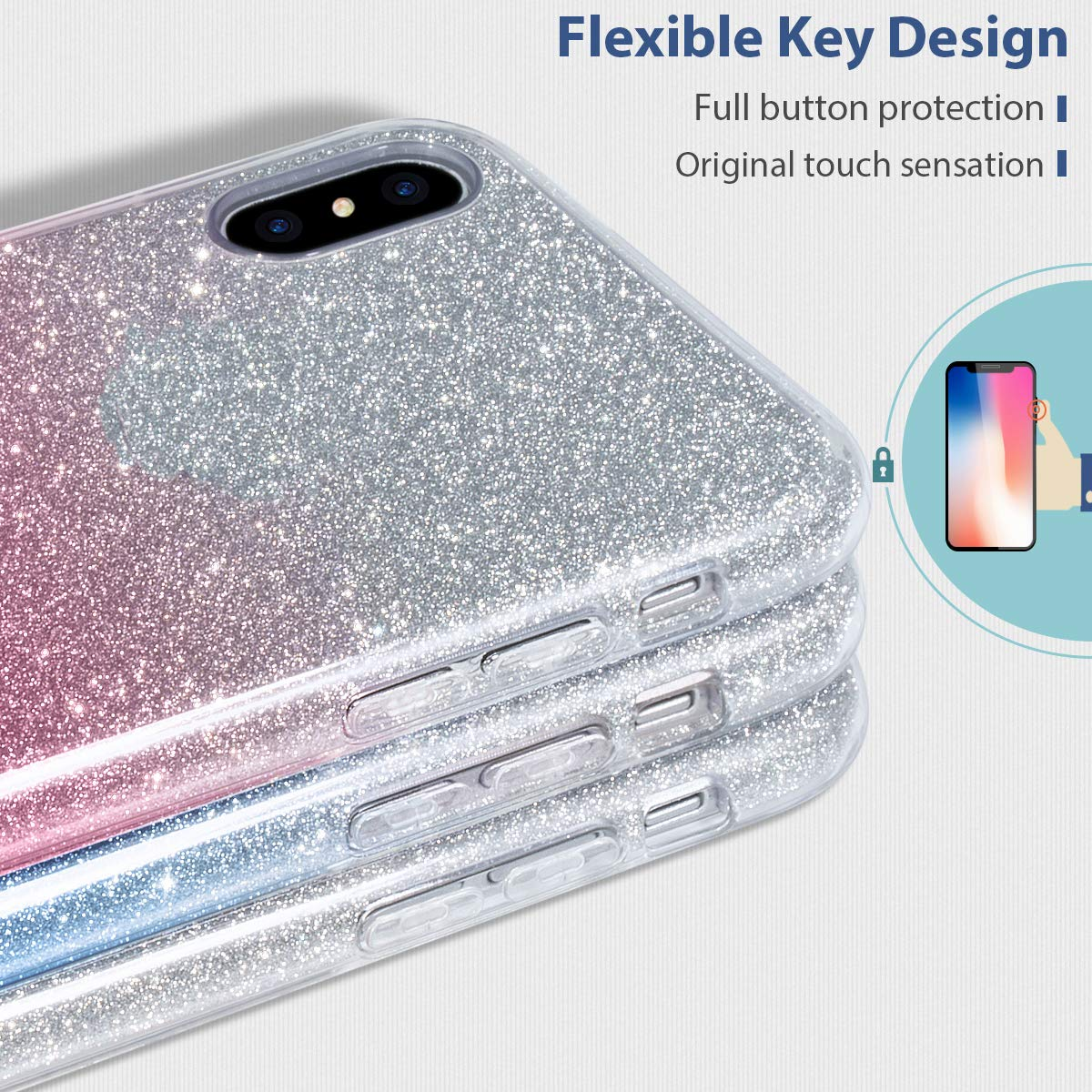 MILPROX iPhone Xs Plus case Shiny Sparkly Silm Bling Crystal Clear 3 Layer Hybrid Anti-Slick//Protective// Soft Case iPhone Xs Plus 2018 - Gold