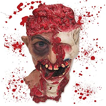 pawliss halloween scary decorations fake bloody body parts props severed cut off head with eyeball - Scary Props