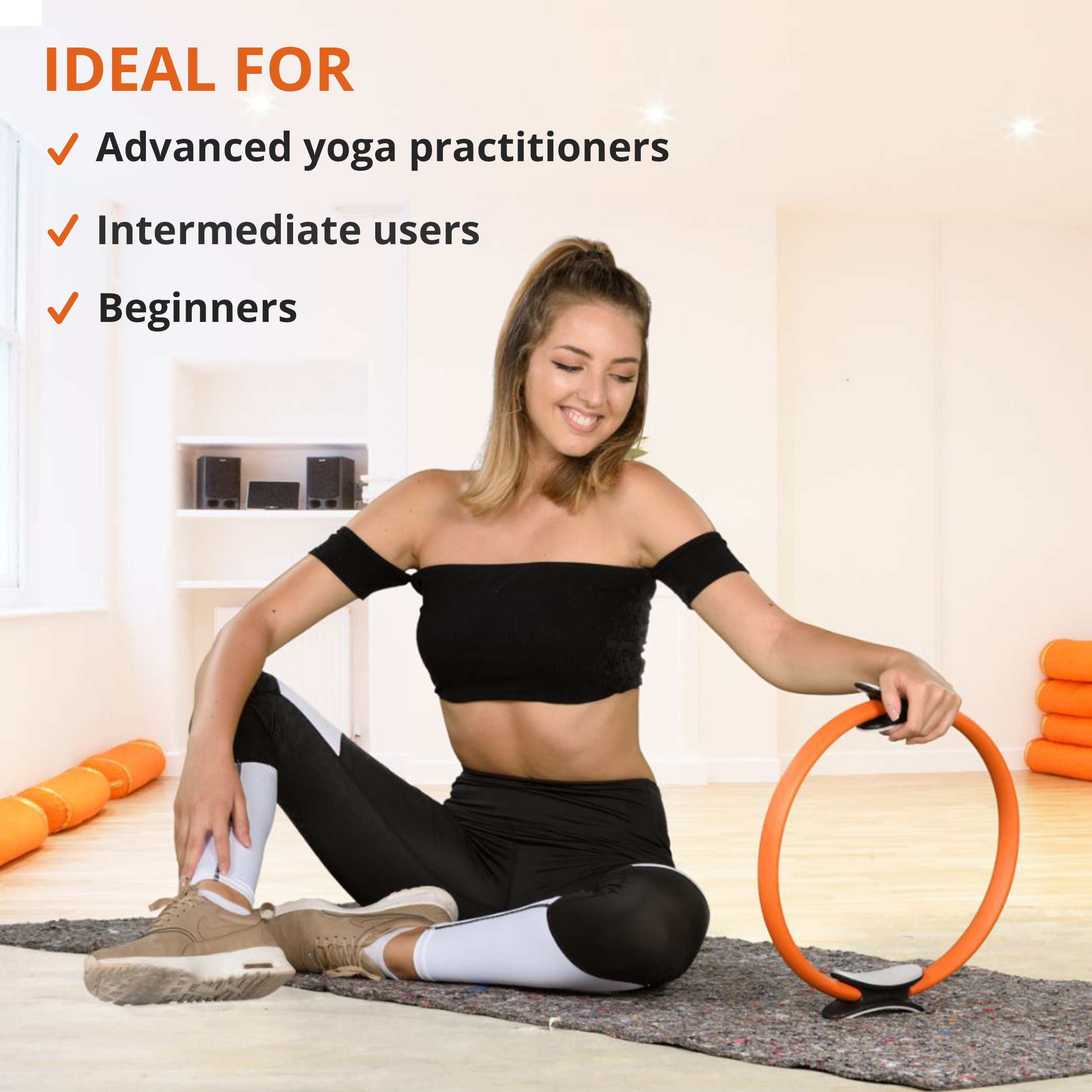 Balvia Fitness Pilates Yoga Ring Equipment Bundle with Non-Slip Grip Handles - Carrying Bag, Massage Ball and Exercise E-book Included - Premium Full Body Toning Fitness Circle by Balvia Fitness (Image #3)