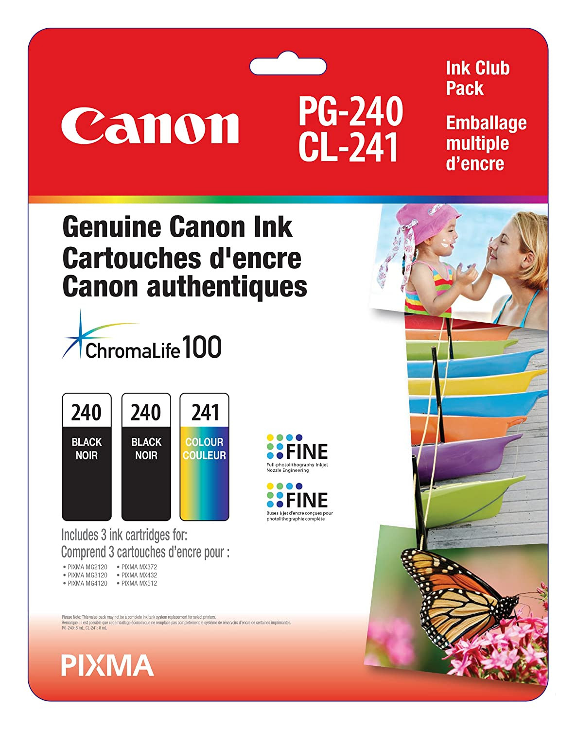 Genuine Canon PG-240 Twin CL-241 Ink Cartrige Club Pack, 2 Black and 1 Tri-Colour - 5207B005
