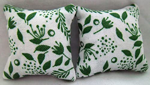 White on Green Design 1//12th Scale Dolls House Cushions