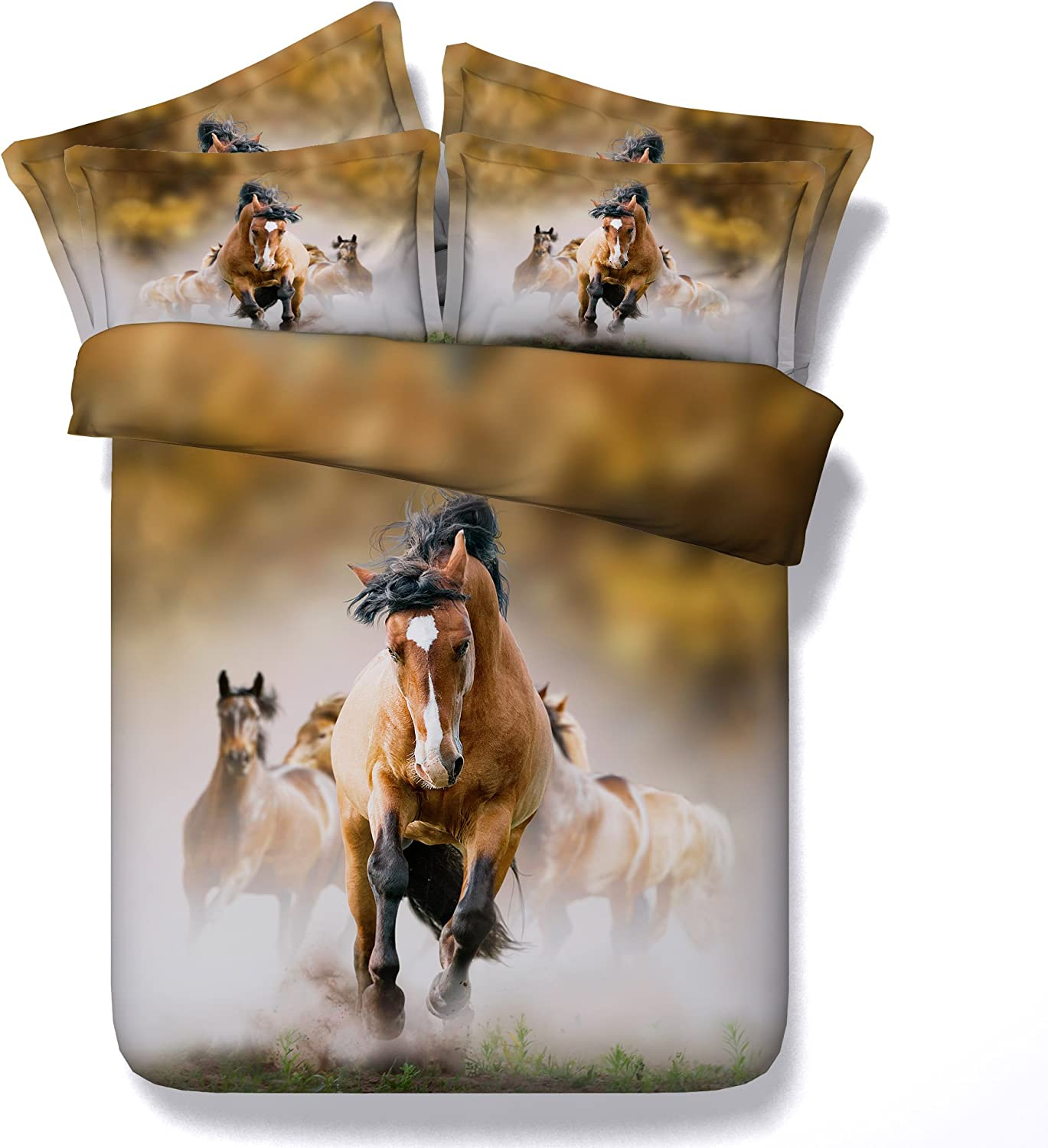 Dodou 3D Running Horses Fashionable Be super welcome Digital Printed Set Cover Cotton Duvet B