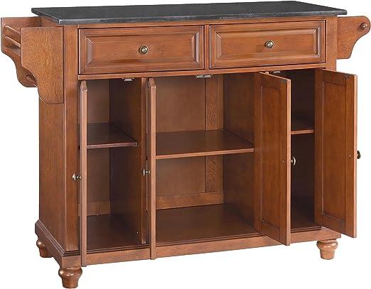 Amazon Com Crosley Furniture Cambridge Full Size Kitchen Island With Solid Black Granite Top One Classic Cherry Kitchen Islands Carts